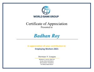 Certificate of Appreciation Employing Worker 2021