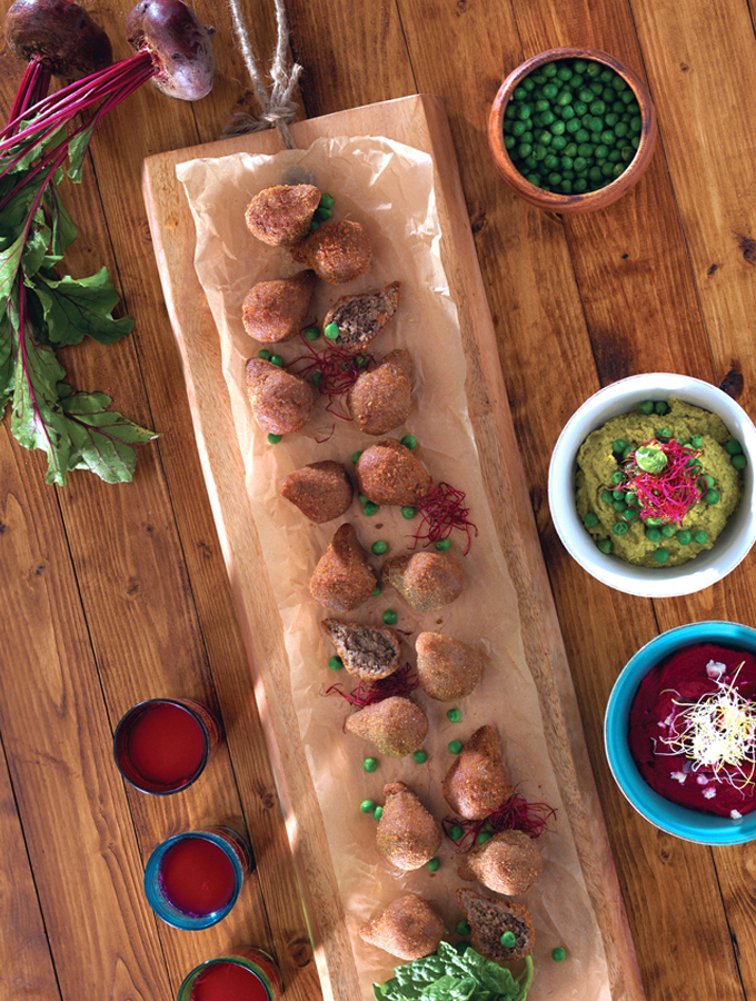 Kibbe with a Hummus Duo; Beetroot Feta & Green Peas Basil