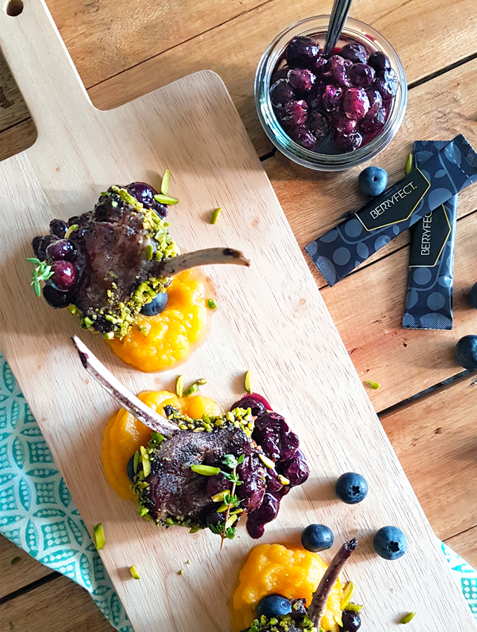 Pistachio-Crusted Lamb Chops with Blueberry-Thyme Compote & Butternut Squash Purée