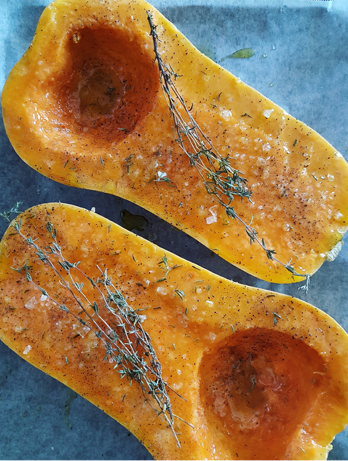 Roasted Butternut Squash with Mushrooms, Walnuts & Sage