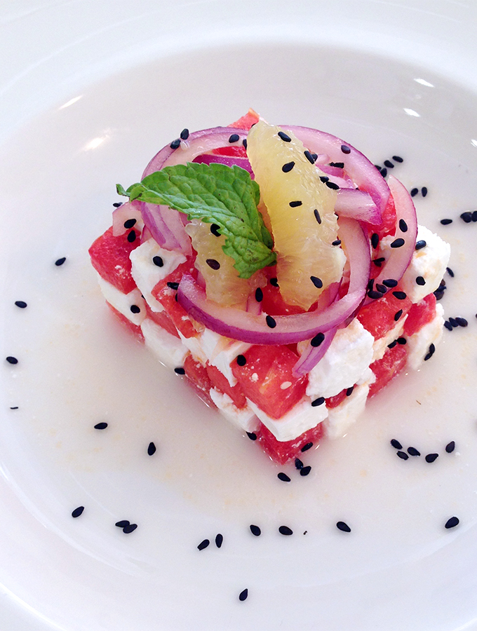 Watermelon & Feta Salad with Orange Honey Citronette