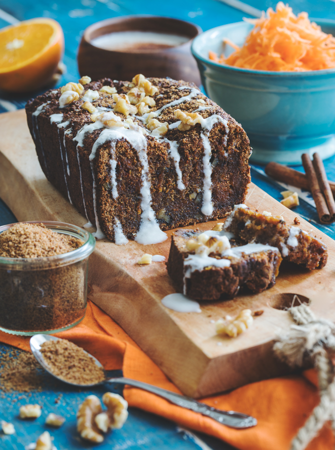 Carrot & Walnut Cake with Coconut Cinnamon Cream