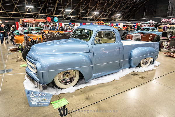 2018TrucksCalendar; 017; 1955; 2017; CA; California; GNRS; Grand National Roadster Show; Micah Hope; Pickup; Pomona; Studebaker 1955 Studebaker Pickup owned by Micah Hope