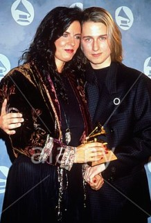 Roy Orbison Jr and his mother Barbara Orbison accepting on behalf of Roy for Best Male Vocalist Grammy Award 1991 at Grammy Awards Show.