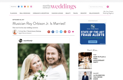 Roy Orbison Jr got married! Featured in Martha Stewart Weddings together with wife Asa