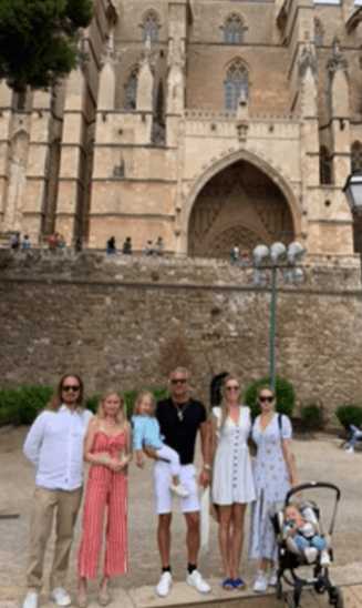 Our gang at the Palma Cathedral in Mallorca, Spain.