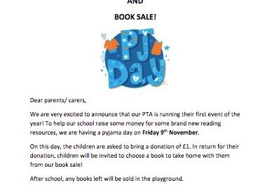 Pyjama day and book sale…