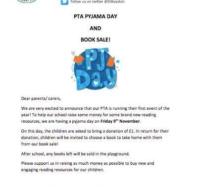 Pyjama day and book sale…
