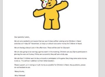 Children In Need activities on Friday 16th November…
