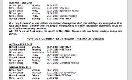 School Holiday Dates 2019-20