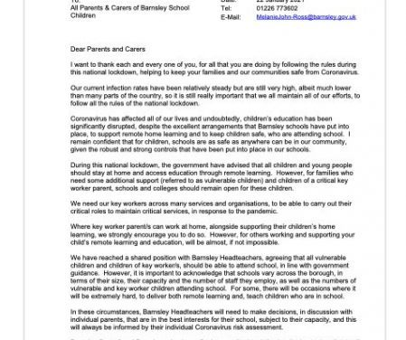 Letter to all parents from the Local Authority