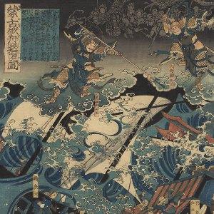 Japońska rycina prezentująca porażkę Mongołów