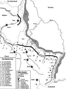 Schemat przedstawiający Właściwą Linię Maginota oraz Linię Obrony Renu