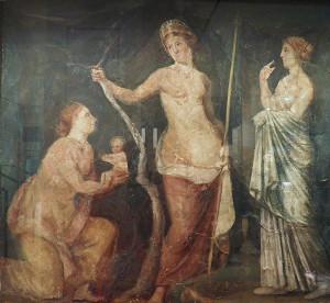 Rzymskie kobiety często potrzebowały opieki bogini Luciny, opiekunki narodzin. Tu ofiarowuje ona dziecko Venus