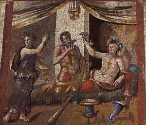 Zdjęcie mozaiki ze starożytnej imprezy