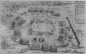 Oblężenie obozu rosyjskiego, dowodzonego przez Wasyla Szeremietiewa i Tymofieja Cieciurę, przez Polaków na włoskiej ilustracji z XVII w.