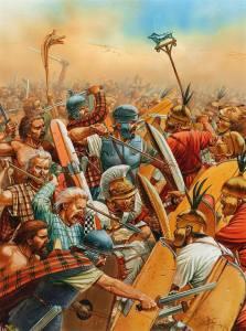 Ilustracja ukazująca Hannibala walczącego w pierwszej linii w trakcie bitwy pod Kannami.