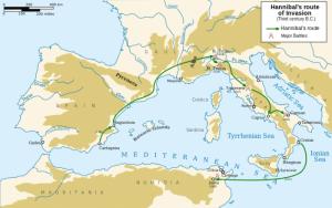 Wyprawa Hannibala do Italii w czasie II wojny punickiej.