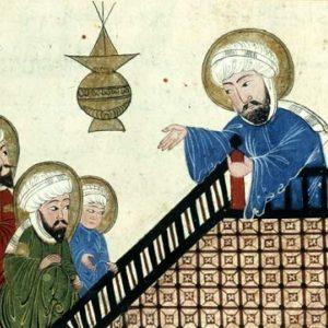 Wino dziełem szatana? Tak uznał ponoć Mahomet. Na ilustracji fragment średniowiecznego rękopisu przedstawiającego proroka głoszącego kazanie