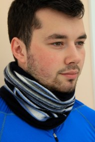 Sam wearing lambswool neck warmer inspired by the sea