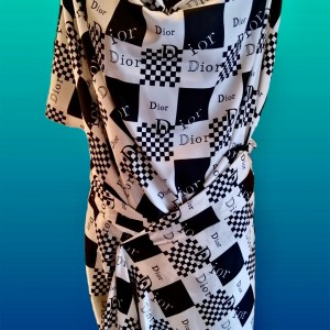 Dior Designer Mulberry Silk Double Crepe 17momme ,W:110cm Double Crepe Chessboard pattern logo print Silk Fabric/Haute Couture Fabric