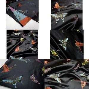 Valentino Italian Designer Fabric Silk Satin Butterfly Pattern/Valentino fashion Week Fabric New Collection Italian Fabrics