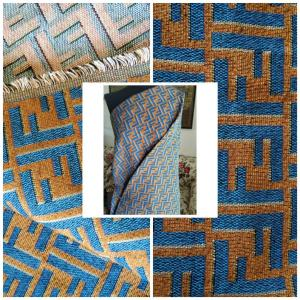Fendi Jacquard Fabric Clothing and Upholstery 30%Cotton 70 Polyester 340gr width 145cm/BLUE letter Print Fendi Brocade Fabric Varies Colours