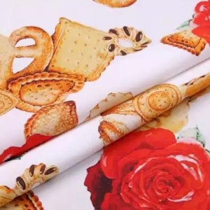 Dolce Gabbana Cotton Fabric/Italian Designer Fabric/Biscuit and Rose's Print on Cotton/Italian Designer Fabric at Sale Price!