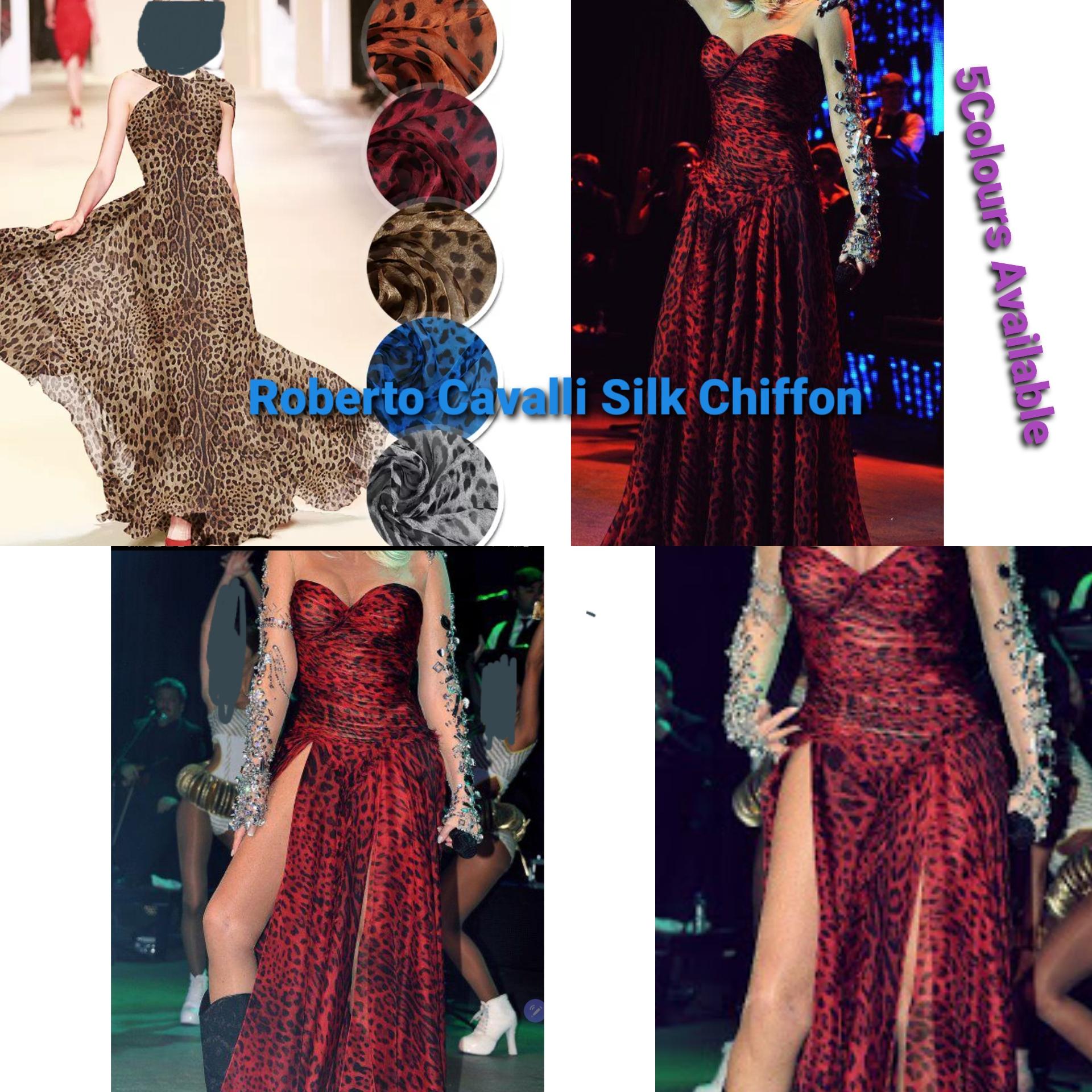 Roberto Cavalli Italian Designer Silk Chiffon Leopard Print Orange With Black Couture Fashion Week Fabric Check Shop For All Type Of Fabric Pure Silk Leopard Print Fabric Rozitta Rapetti