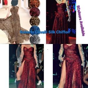 Italian Silk Chiffon Cavalli Fabric Orange with Black/Fashion week fabric/Haute Couture Fabric/Alta Moda Silk Chiffon Fabric/Leopard Print Silk chiffon
