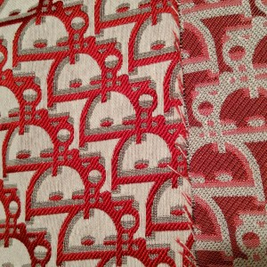Dior Jacquard Fabric New Collection 3D/Light Grey Base with large Red wicker like Logo/Designer Fabric Fashion week colour #6