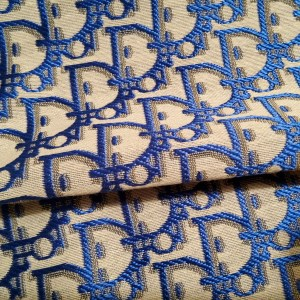 Dior Jacquard Fabric New Collection 3D/Light Grey Base with Dark Blue wicker like silky Logo/Designer Fabric Fashion week colour #2