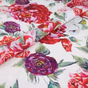 Dolce Gabbana 2020 cotton Fabric,Peony print DG cotton poplin,Fashion week flowers design cotton fabric