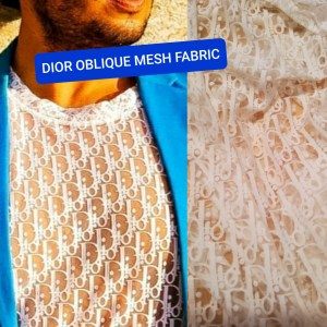 Dior Oblique Mesh Fabric/Dior Jersey Lace Logo stretch fabric/Fashion week Dior Oblique/Colour #1 White also available in Black