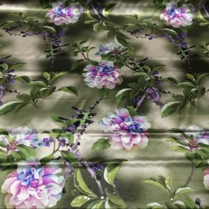 Emanuel Ungaro Silk fabric Flowers and birds pattern new collection HEAVY SILK 40 momme/Italian Designer Limited Collection Silk