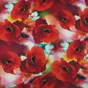 Emanuel Ungaro Silk Poppy design fabric/Heavy Silk 40 momme poppies pattern/New Collection Italian Designer Silk Fabric