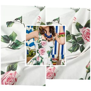 Dolce Gabbana Cotton fabric Roses pattern New Collection Fashion week DG fabric/Available in Black colour and in Silk