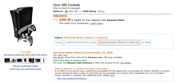 Modern Warfare 2 Xbox 360 250GB on Amazon