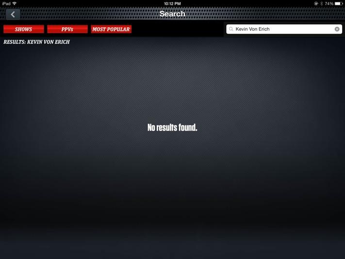 WWE Network search