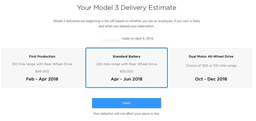 Tesla Model 3 Standard Range Estimate