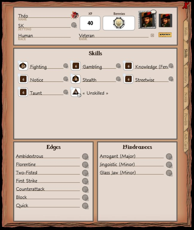Theo's character sheet