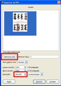 Imagem da janela de importação de PDF do Gimp