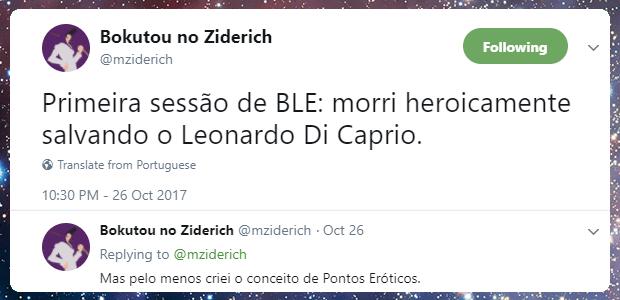 Primeira sessão de BLE: morri heroicamente salvando o Leonardo Di Caprio.
