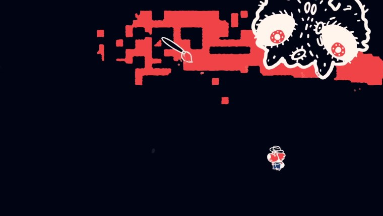 Protagonist engaged in a boss fight.
