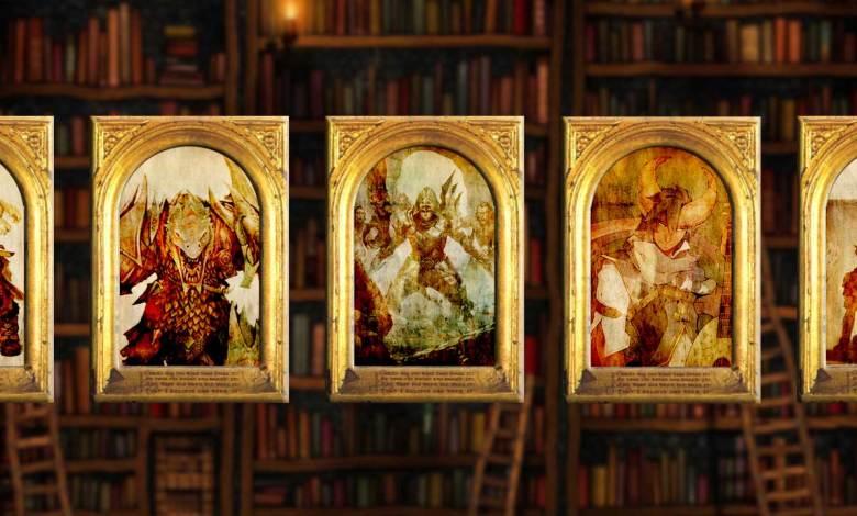 5 quadros com imagens de heróis de fantasia medieval