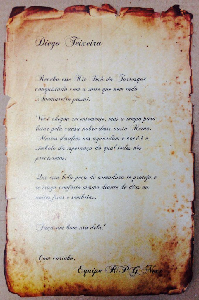Carta do Kit Baú do Tarrasque