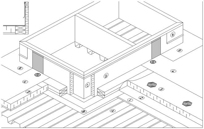 EPDM Details:D2.7.6-4 Curbs & Sleepers (Mechanical Opening