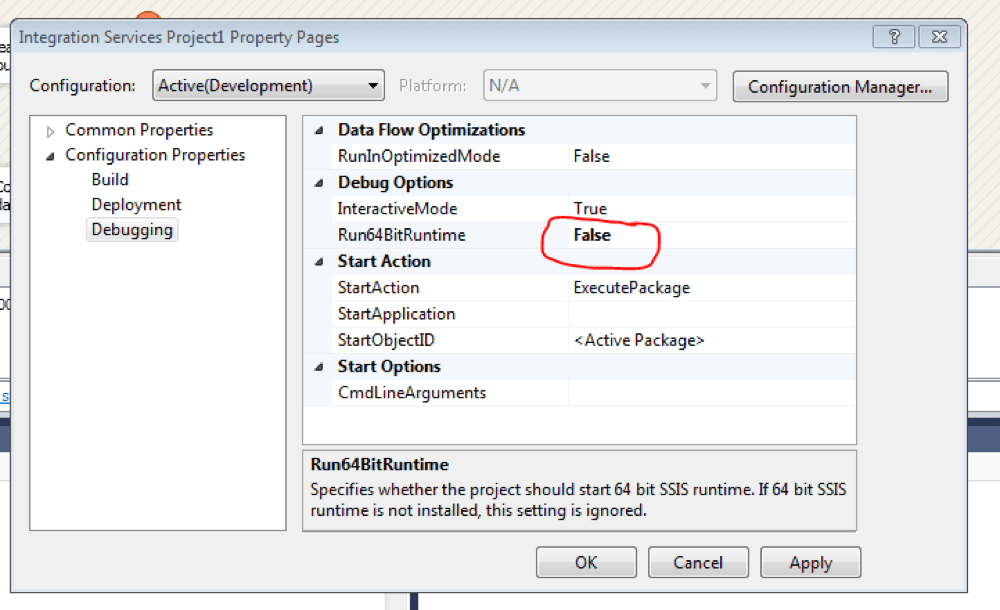 Fix 64-bit Dataflow Excel source/destination error (SSIS 2012 – EN-US) – Datavoid