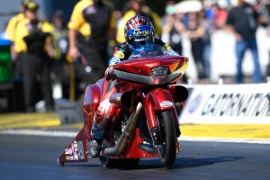 Pro Stock Motorcycle rider Angelle Sampey racing at the 2018 Gatornationals