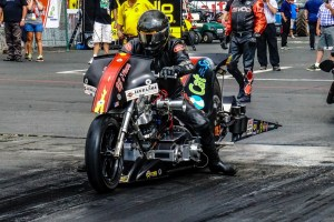 Top Fuel Harley pilot Ricky House racing at Pacific Raceways in 2018